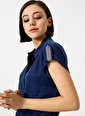 Fabrika Kısa Kollu Gömlek Elbise Mavi